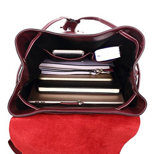 Fille Noir Backpack Ecole College de a Grand Épaule Cuir Rouge pour à Porté Ados Cordon Grande Voyage Adulte Femme Dos Sac Yqwq6U