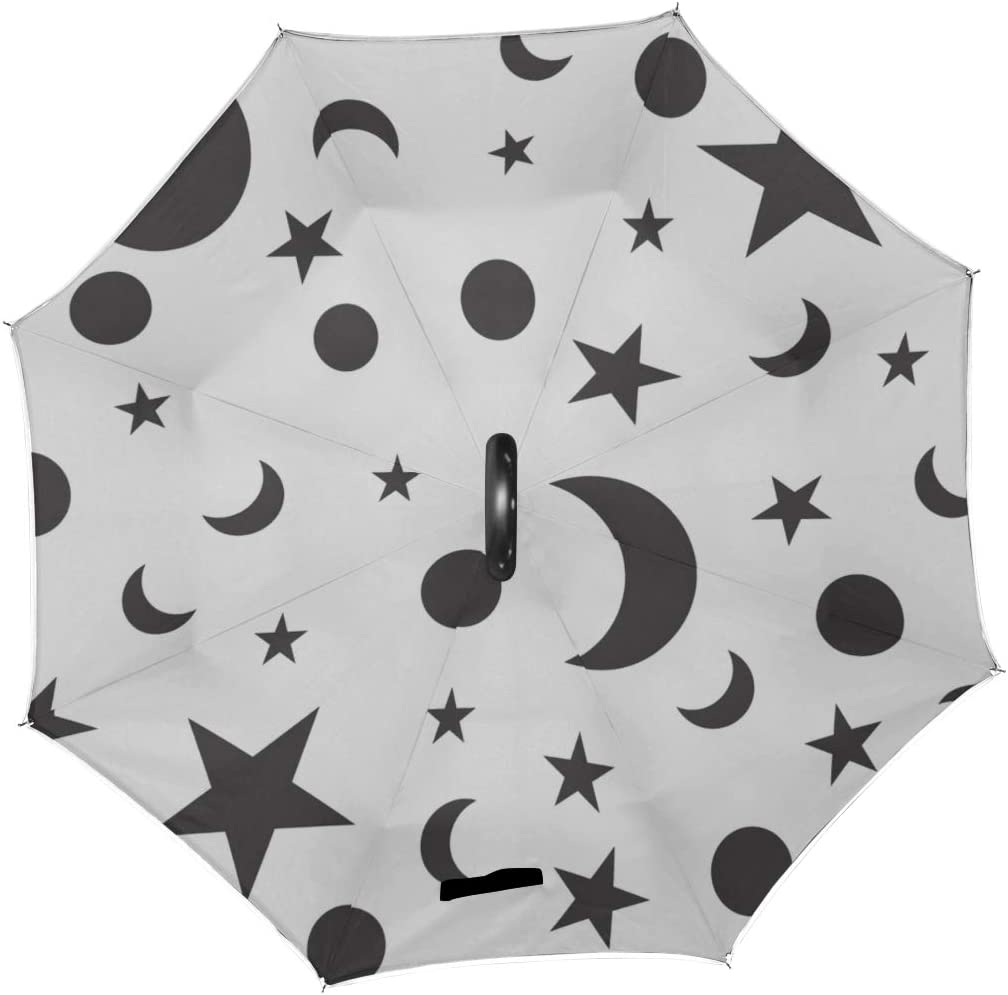 Double Layer Inverted Inverted Umbrella Is Light And Sturdy Pattern Wiht Moon Star Reverse Umbrella And Windproof Umbrella Edge Night Reflection