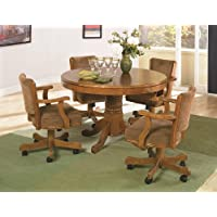 Coaster Mitchell 5 Piece 3-in-1 Game Table Set in Oak
