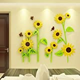HOMEE 3D Cubic Wall Stickers Acrylic Wall Stickers Kids Room Kindergarten Decorations Sunflower Background Walls Living Room Flowers,XL