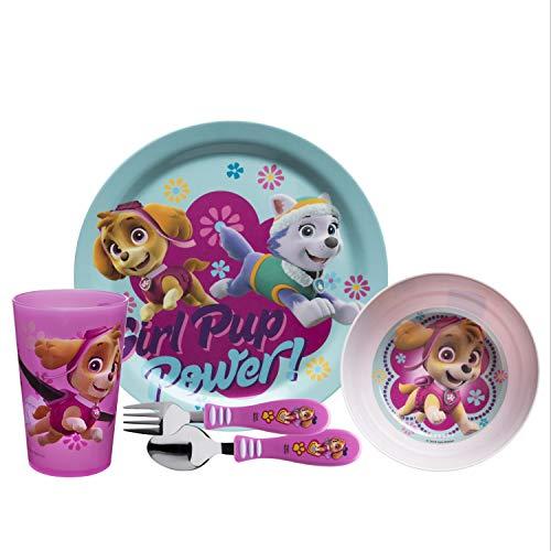 Zak Designs PWPE-5480-AMZ Nick Jr. Dinnerware Sets, 5 Piece, Paw Patrol Girl 5pc