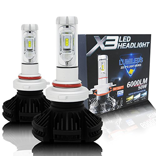 Alla Lighting 2017 X3 Newest 6000lm DIY 3 Colors White Gold Yellow Ice Blue Xtremely Super Bright High Power ZES Chips Mini 9005 HB3 LED Headlight Conversion Kits Bulbs - 2 Year Warranty (9005 HB3) ()