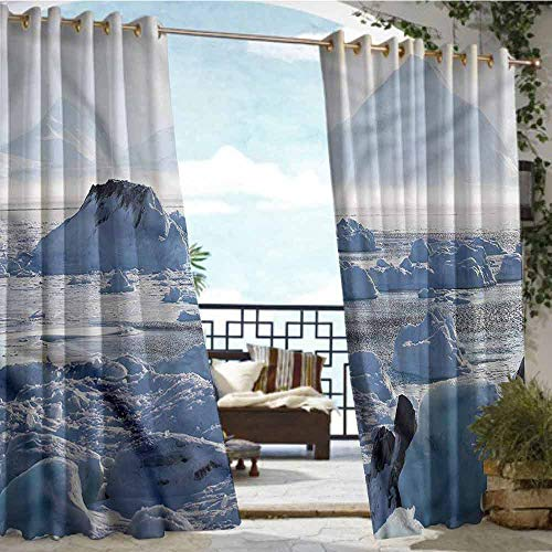 Lake Traditional Chandelier - Outdoor- Free Standing Outdoor Privacy Curtain Alaska,Arctic Winter Ice Lake,W108 xL84 for Patio Light Block Heat Out Water Proof Drape
