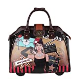 Nicole Lee Women's Stylish Rolling Print Bag, Laptop Compartment Travel Tote, Hollywood Star, One Size
