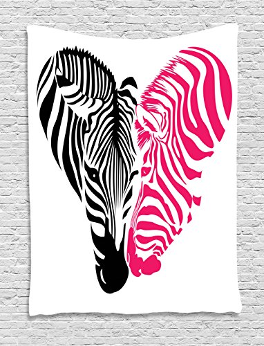 Ambesonne Pink Zebra Tapestry, African Zebra Couple Heads in the Shape of Heart Love Wedding Celebration, Wall Hanging for Bedroom Living Room Dorm, 60 W X 80 L Inches, Pink (Zebra Pink Wall Hangings)