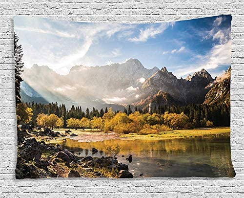 Ambesonne Mountain Tapestry, Snowy Mountains Pine Trees Scenery Dusk in Fall Clouds Natural Paradise Image, Wide Wall Hanging for Bedroom Living Room Dorm, 80 X 60 , Dark Yellow