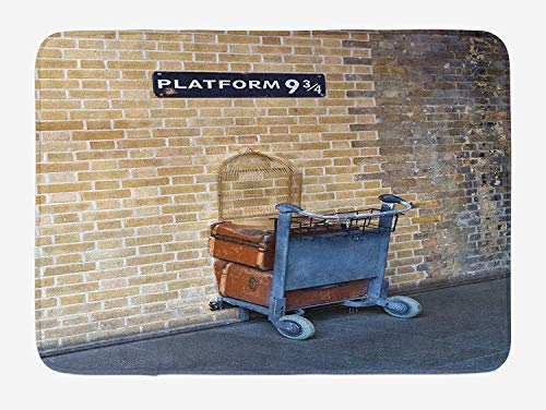 Weeosazg Wizard Bath Mat, Secret Way to The Train to Magical World Kings Cross Station Famous Landmark Picture, Plush Bathroom Decor Mat with Non Slip Backing, 23.6 W X 15.7 W Inches, Brown -