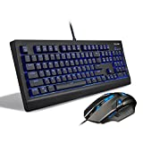 TeckNet Arctrix Pro Backlit LED Illuminated Wired Mechanical Gaming Keyboard and Mouse Set, Water-resistant Design, US Layout
