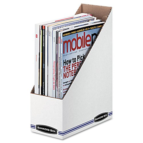 Bankers Box 10723 Corrugated Cardboard Magazine File, 4 x 9 1/4 x 11 3/4, White, 12/Carton (Fellowes Bankers Box Labels)