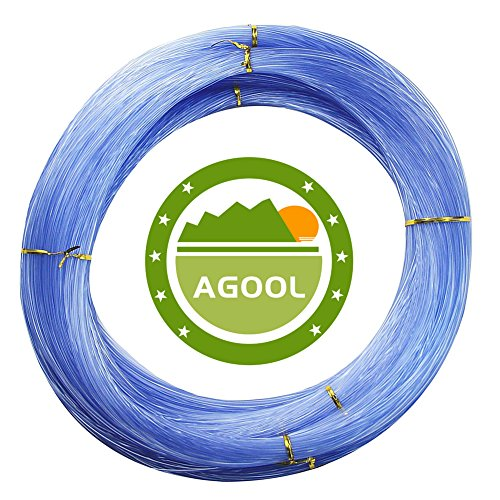 AGOOL Monofilament Fishing Line Clear Super Power NO Memory Nylon Fishing Leader Line Speargun Line Strong and Abrasion Resistant in Freshwater Saltwater 500m / 547yards (Blue, 0.8mm - 84.7lbs)