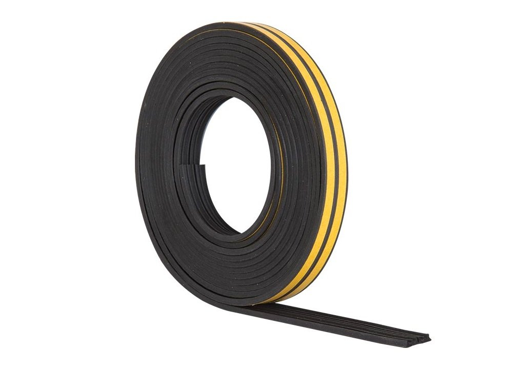 Stormguard EPDM E Profile Draught Excluder - Self Adhesive Rubber Weather Strip - 10m, White