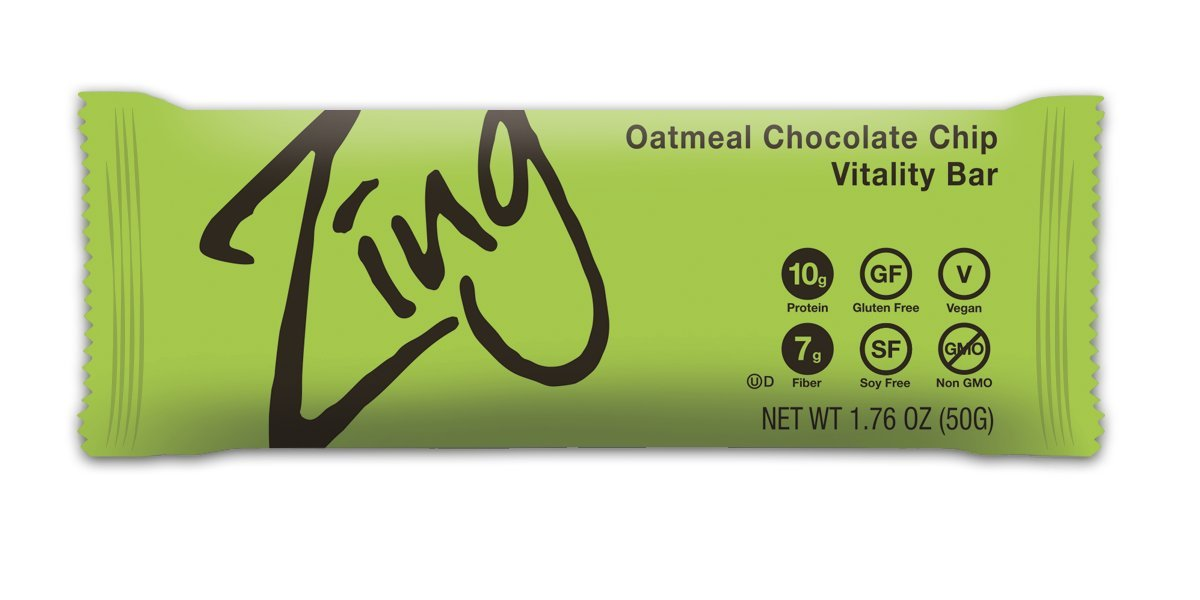 Zing Nutrition Bar, Oatmeal Chocolate Chip, (Pack of 12), Non-GMO Snack Bar for Optimum Energy, Gluten & Soy Free, Plant-Based Protein