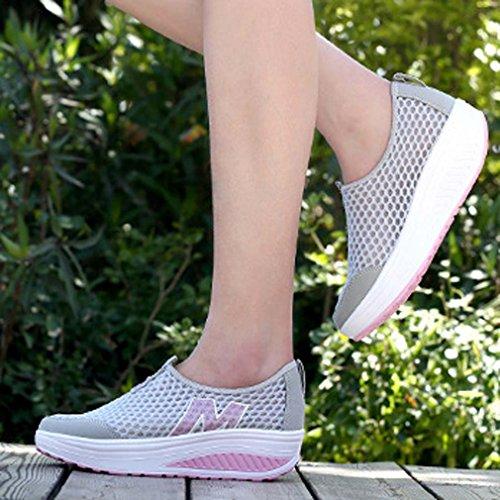 Orlancy Womens Mesh Scarpe Sportive Con Zeppa Antiscivolo Leggere Sneakers Fitness Taglia Us4-11 Grigio 2