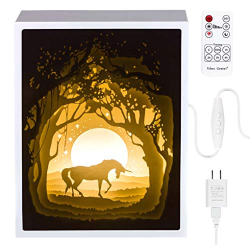 Papercut Light Boxes, Night Light Lamp of Creative Light Paintings - Fairy Butterfly (Unicorn)
