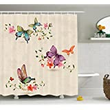 Ambesonne Butterfly Shower Curtain, Butterfly Pattern on Vintage Style Background Spiritual Wings Moth Transformation, Cloth Fabric Bathroom Decor Set with Hooks, 70 Inches, Multicolor