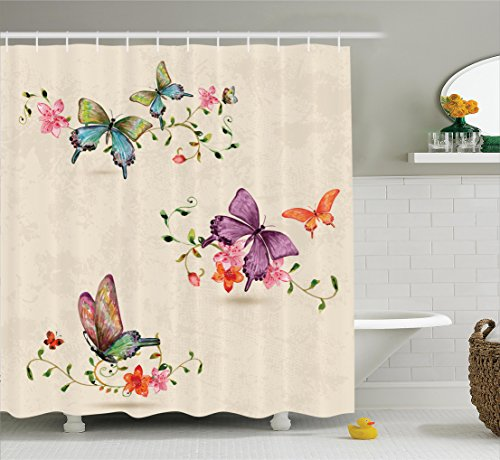 Apartment Decor Shower Curtain Set By Ambesonne, Butterfly Collection On Vintage Background Spiritual Wings Moth Transformation Symbol Print, Bathroom Accessories, 69W X 70L Inches, (Religious Accessories)