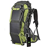 Edith qi Solar Powered Hiking Backpack Travel Sports Daypacks,School Business Bag,Waterproof Security 10 Watts Solar Battery Charger Backpack for Smart Cell Phones,Cameras,Tablets