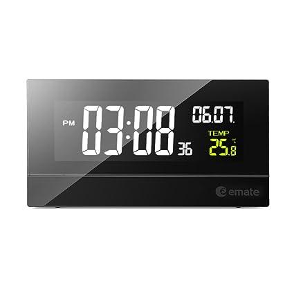 Pantalla de Tiempo Lcd Mesa de Noche Rectangular Pared Digital Despertador Reloj Electrónico 56 * 105