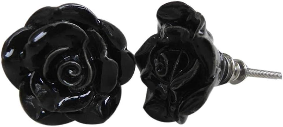 IndianShelf Handmade 2 Piece Ceramic Black Rose Flower Shape Artistic Rust Free Drawer Knob Door Pull Handle