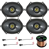 Car Speaker Set Combo Of 4 Kicker 40CS684 6x8' Inch 450W 2-Way Car Coaxial Stereo Speakers + 4 Metra 72-5600 Speaker Connector for Ford, Lincoln, Mazda, Mercury, + Enrock 50ft 16g Speaker Wire