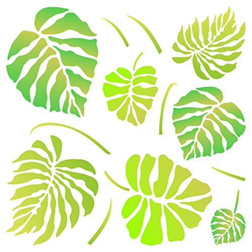 Leaves Autumn Templates - Monstera Leaves Stencil - 10 x 10 inch (M) - Reusable Large Tropical Philodendron Wall Stencil Template - Use on Paper Projects Scrapbook Journal Walls Floors Fabric Furniture Glass Wood etc.