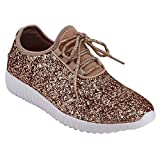 Forever Link Womens Closed Round Toe Sparkling Glitter Lace up Fitness Trainer Gym Fashion Sneakers 8 Rose Gold