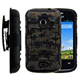 zte whirl 2 cases - ZTE Whirl 2 Case, ZTE Whirl 2 Holster, Two Layer Hybrid Armor Hard Cover with Built in Kickstand for ZTE Whirl 2 Z667G, ZTE Flame, ZTE Prelude 2 Z667, ZTE Zinger Z667T (Straight Talk, Net10, Cricket, T Mobile) from MINITURTLE | Includes Screen Protector - Ancient Camouflage