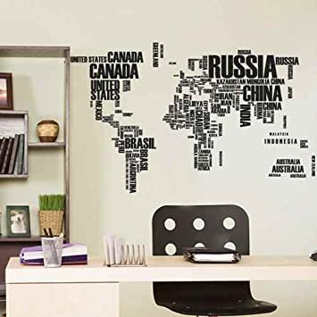 Amazon typography world map wall decal home decor map of the typography world map wall decal home decor map of the world vinyl wall artblack gumiabroncs Image collections