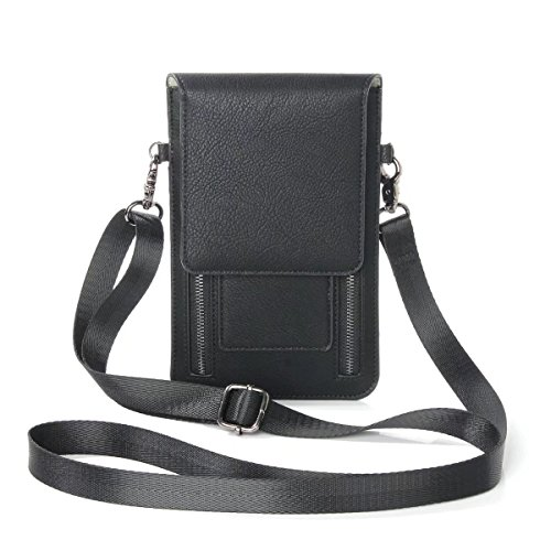 Just Mode Womens PU Leather Crossbody Cellphone Bag Coin Purse for iPhone Samsung Galaxy / Note HTC and Daily Use with Card Slot and Shoulder Strap, Black