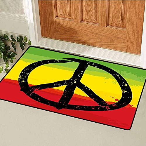 Gloria Johnson Rasta Universal Door mat Grunge Style Watercolor Design African Flag Colors Hippie Peace Sign Door mat Floor Decoration W31.5 x L47.2 Inch Black Green Yellow and Red