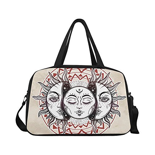InterestPrint Boho Moon and Sun Face Duffel Bag Travel Tote Bag Handbag Luggage