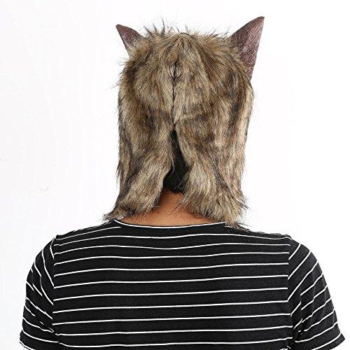 Tmalltide Latex Animal Wolf Head with Hair Mask Fancy Dress Costume Party Scary Halloween
