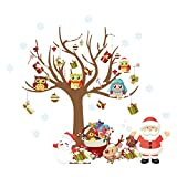 ElecMotive Merry Christmas Santa Claus Owls Christmas Tree Gifts Wall Decals, Living Room Bedroom Shop Window Removable Wall Stickers Murals Removable DIY Home Decorations Art Decor