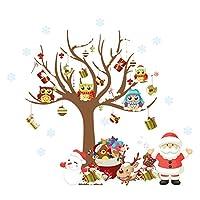 ElecMotive Feliz Navidad Papá Noel Búhos Regalos del árbol de Navidad Adhesivos de pared, Sala de estar Dormitorio Ventana de la tienda Pegatinas de pared removibles Murales Extraíble Decoraciones para el hogar DIY Decoración de arte (Navidad)