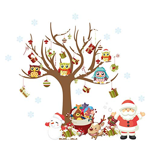 (ElecMotive Merry Christmas Santa Claus Owls Christmas Tree Gifts Wall Decals, Living Room Bedroom Shop Window Removable Wall Stickers Murals Removable DIY Home Decorations Art Decor (Christmas))
