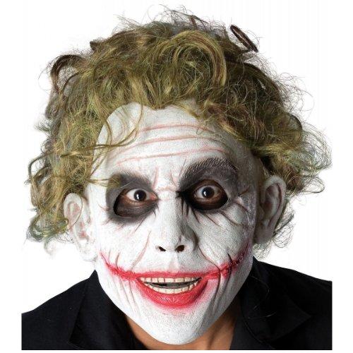 Batman The Dark Knight  The Joker Foam Latex Mask With Hair, Multi, One Size (Batman Halloween Makeup Mask)