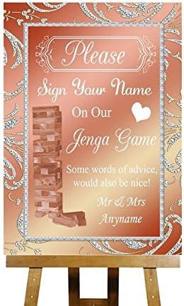 Juego mensaje Jenga rosa Coral personaliseitonline boda tarjeta impresa muestra colección, color rosa Small A5: Amazon.es: Oficina y papelería