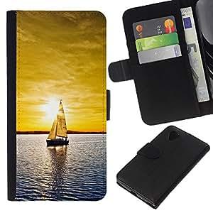 Protector de cuero de la PU de la cubierta del estilo de la carpeta del tirón BY RAYDREAMMM - LG Nexus 5 D820 D821 - Sunset yate