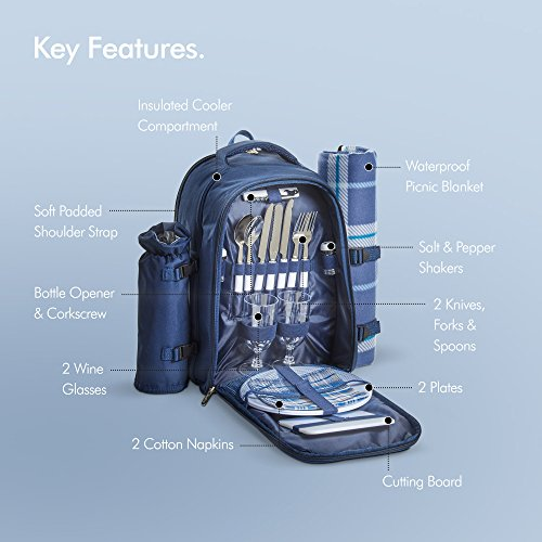 Blue Tartan Picnic Backpack
