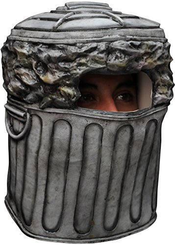 Men's Trash Can Overhead Latex Mask (Gray)