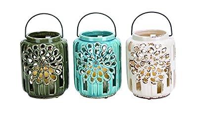 Benzara Beautifully Carved Ceramic Lantern, 3 Assorted Colors