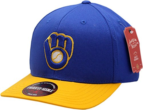 Milwaukee Brewers Snapback Flat Bill Outfield Blue/Yellow