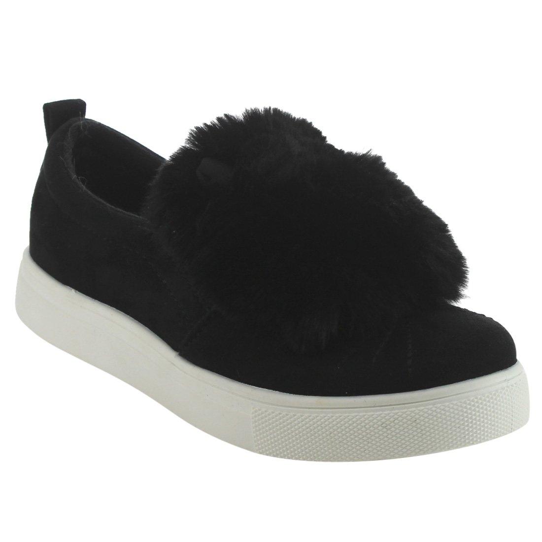Betani EI61 Girls Low Top Elastic Gore Side Pom Poms Slip On Fashion Sneakers