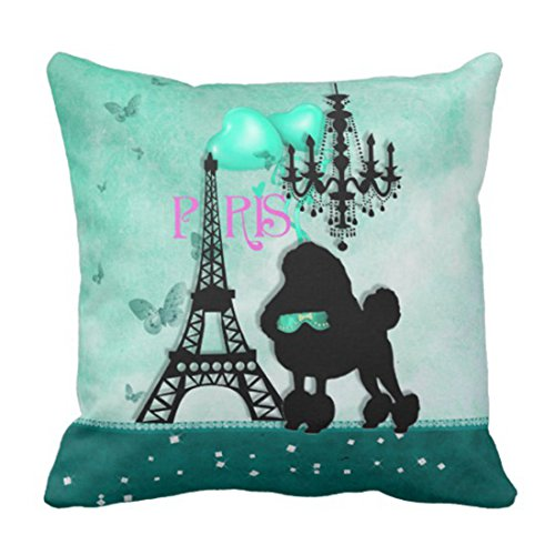 Emvency Throw Pillow Cover Cute Dog French Paris Girly Poodle Eiffel Tower Teal Funny Butterflies Decorative Pillow Case Home Decor Square 18 x 18 Inch Pillowcase ()