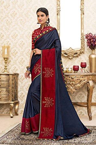 Da Sari Facioun Per Indossare Partito Progettista Di Nozze Indiani Donne Blu Tradizionale Sari Le SSHwr