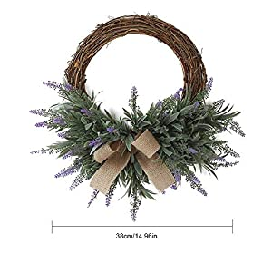 anne210 Artificial Flower Wreath Decoration Lavender Garland Artificial Flower Ornament Wreath Door Decoration Garland Wreath 7