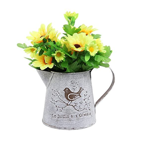 French Country Vintage Bird Decorative White Shabby Chic Mini Metal Pitcher Flower Vase - Vintage style metal pitcher display vase will bring trendy French country flair to any home. Decorated with French script (Garden of Birds) and a graphic with a bird on a blooming branch. Ideal for small potted plants or flowers. - vases, kitchen-dining-room-decor, kitchen-dining-room - 51Jn2jA746L. SS570  -