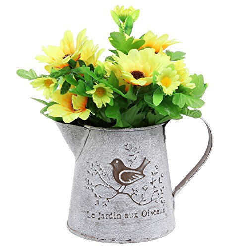 French Country Vintage Bird Decorative White Shabby Chic Mini Metal Pitcher Flower Vase - MyGift®