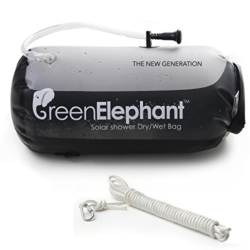 GREEN ELEPHANT 2-in-1 Solar Shower & Dry Bag Non-Toxic Leakproof TPU 5-Gallon Portable Solar Shower Doubles as Dry Storage Sack Camping, Hiking, Fishing, Boating, Beach+Shower Hose, FREE 5m Rope by GREEN ELEPHANT