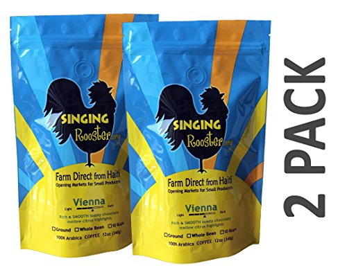 2 Pack Haitian Coffee, Vienna Medium-Dark, 24oz - WHOLE BEAN